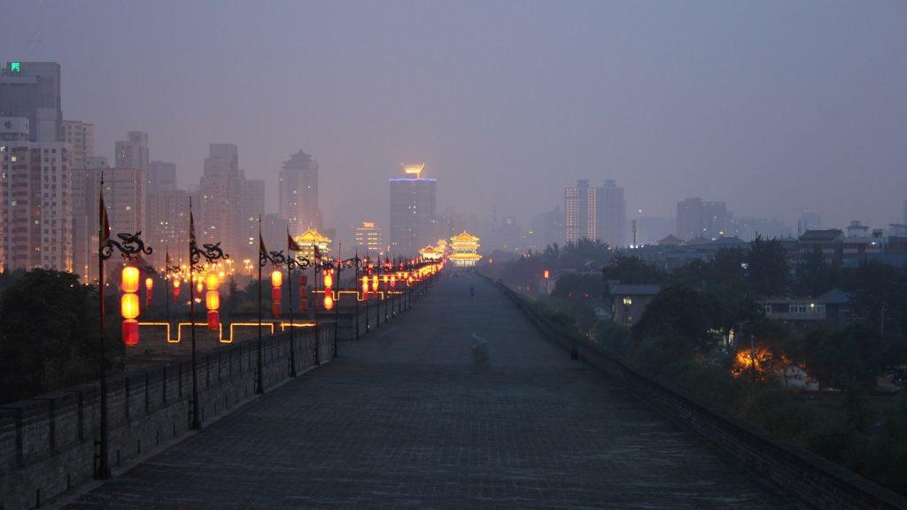 Сиань, Городская стена ночью, Китай