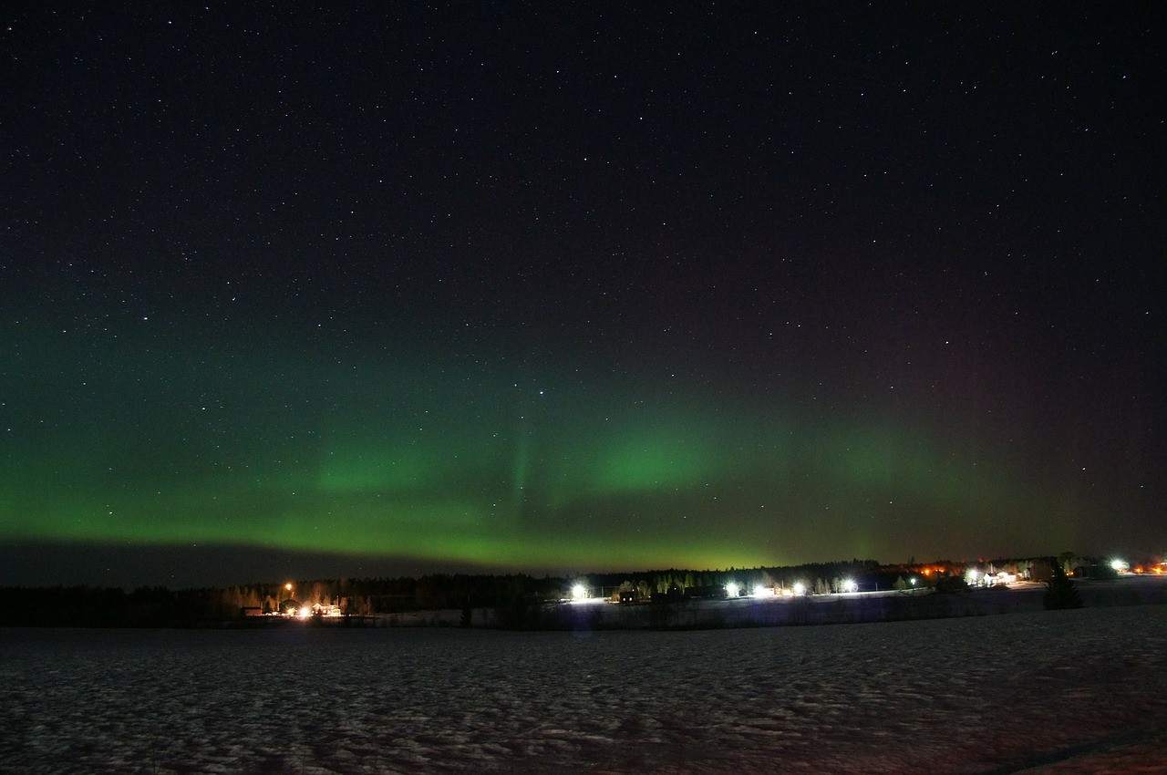 шведская Лапландия, северное сияние, Швеция
